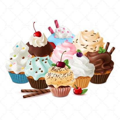 Vector dessert cupcake sweets homemade cake caramel meringue