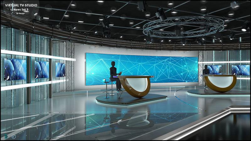 Virtual TV Studio News Set 3
