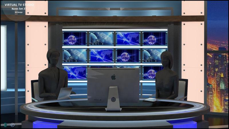 Virtual TV Studio News Set 27