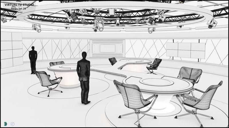 Virtual TV Studio News Set 28 3d model
