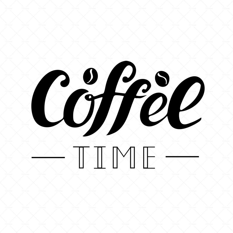 Coffee time digital hand lettering. Logo for business