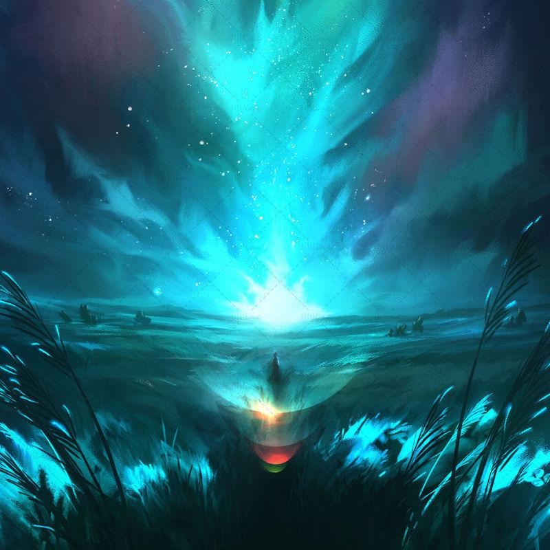 Blooming light landscape night fantasy aurora starry sky