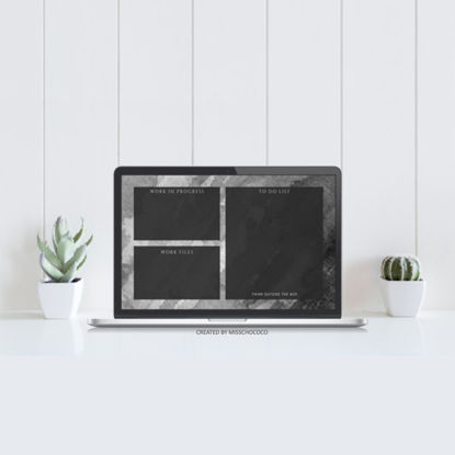 Minimalist Black Desktop Organization Wallpaper