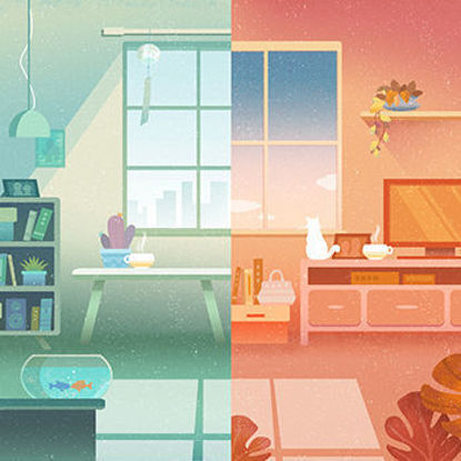 Indoor warm illustration