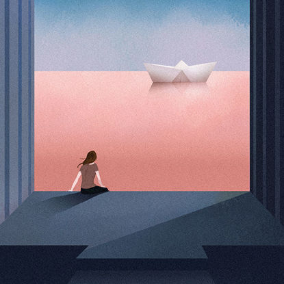 The illustration of girl watching sea