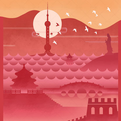 Illustration and posters of famous places of interest in China