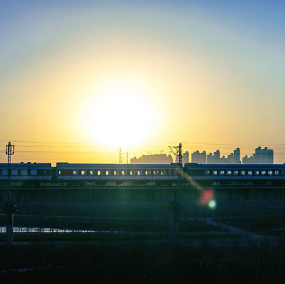 Photo of the train in the backlight