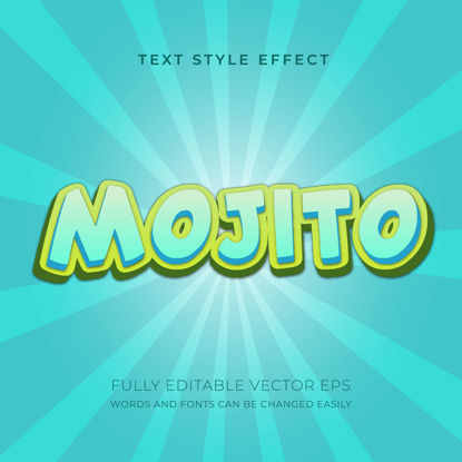 Mojito Juice fresh 3D Editable Text Style Effect vector