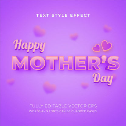Mother's Day 3D Editable Violet Text Style Effect with lovely background