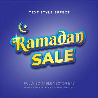 Ramadan Sale Blue and Golden Editable Text Style Effect
