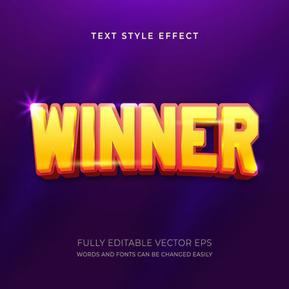 Winner Red and Yellow Editable Text Style Effect