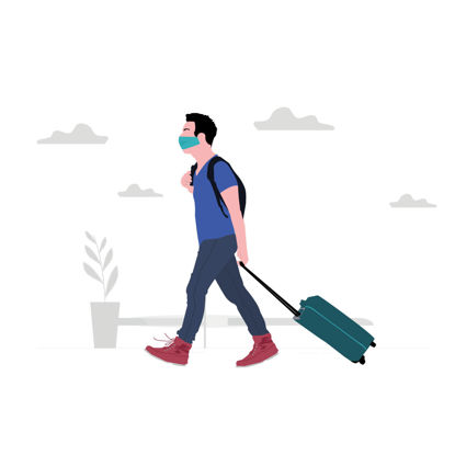 Man in airport traveling during covid 19 corona virus illustration