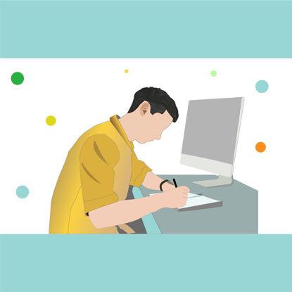 Man working on desk multicolor vector  illustration