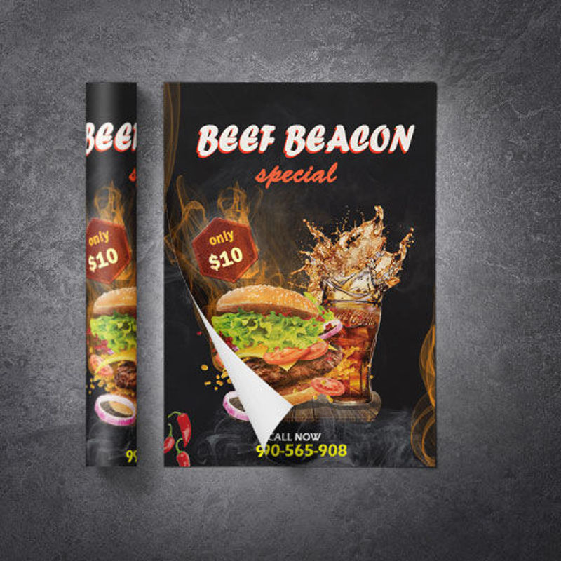 Burger restaurant promotional flyer