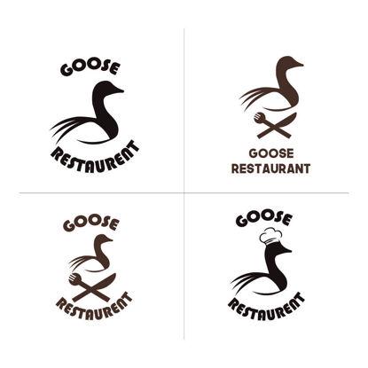 Goose restaurant logo set