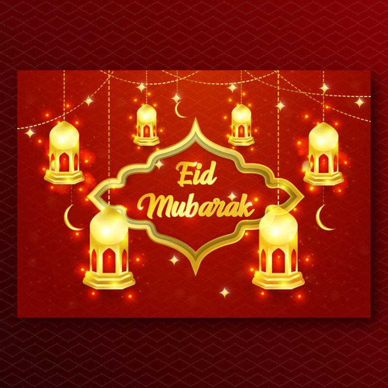 Eid Mubarak luxe feestelijk kastanjebruin vectorontwerp als achtergrond