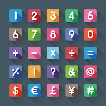 Iconos de botón de símbolos cuadrados con vector de sombra