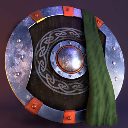 3D Viking shield texture and model