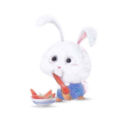 Coniglio sveglio del fumetto che mangia l'illustrazione di vettore delle carote