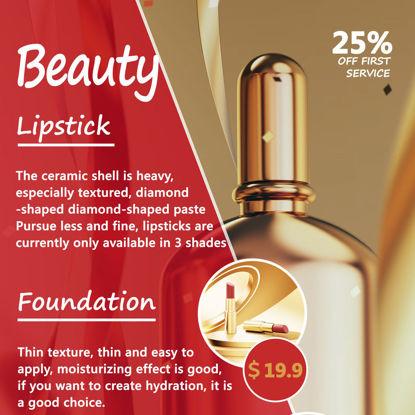 美しさの赤と金のトレンドポスター