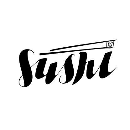 Sushi hand lettering Digital download Lettering for printing Business logo for product