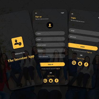 Investor app initial screens, signup and login concept UI UX