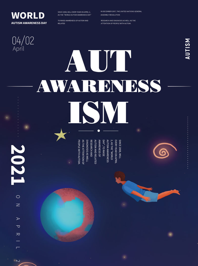 Public welfare poster of caring for autistic children