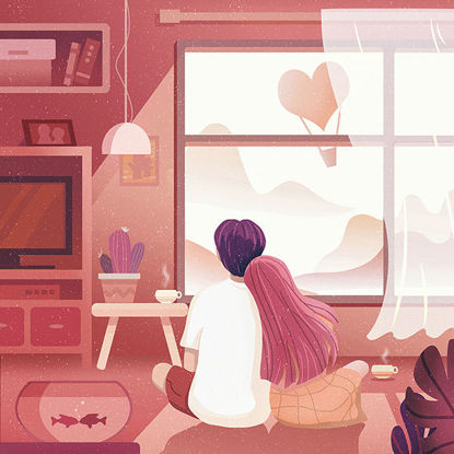 Flat style warm lovers illustration
