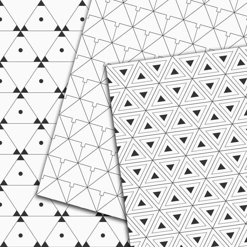 10 seamless triangles patterns. Geometrical vector digital backgrounds