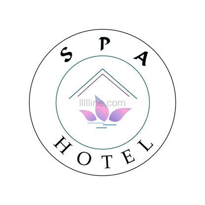 آرم برای هتل اسپا با برگهایی به رنگ شیب یاسی و به صورت دایره های سیاه و سبز تیره و خطوط روی زمینه سفید