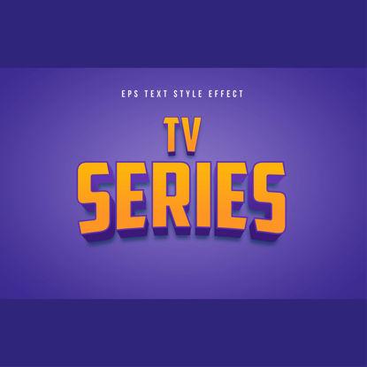 TV-serie geel 3D bewerkbaar tekststijleffect