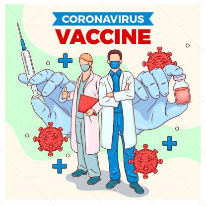 Ilustración creativa de la vacuna del coronavirus