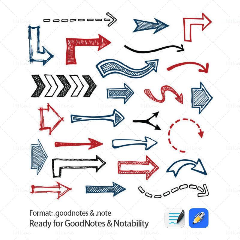 Actifs des éléments Arrows pour GoodNotes et Notability
