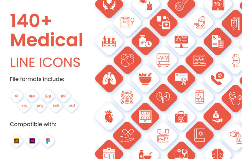 140+ Medical Linear Icons Pack