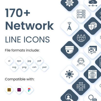 170+ أيقونات خط متجه للشبكات
