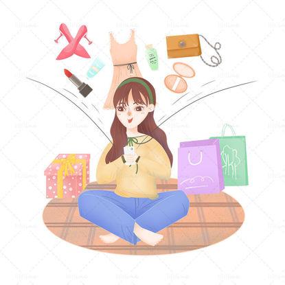 オンラインショッピングの女の子の手描きスタイルのシーン
