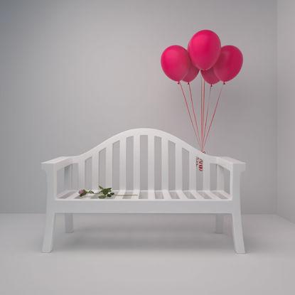 كرسي وبالونات موديل ثلاثي الأبعاد