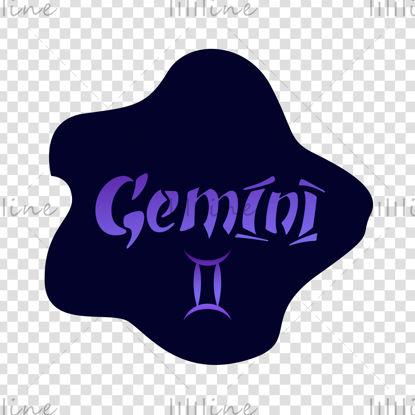 Gemini zodiac sign Vector hand lettering