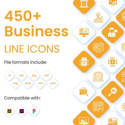 450+ icônes linéaires commerciales et financières