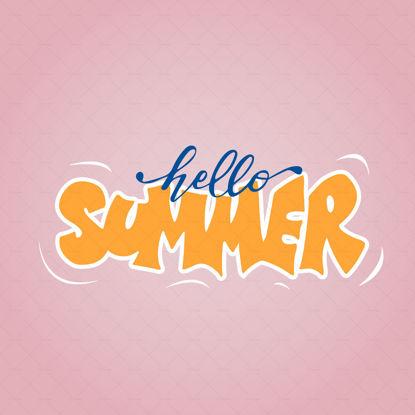 Hello summer  digital hand lettering blue and orange letters
