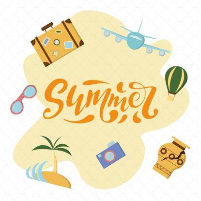 Summer  digital handwriting suitcase with stamps blue airplane pink glasses green balloon