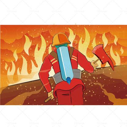 Ilustración de Vector de vista trasera de héroe de fuego de dibujos animados de día de conciencia de fuego
