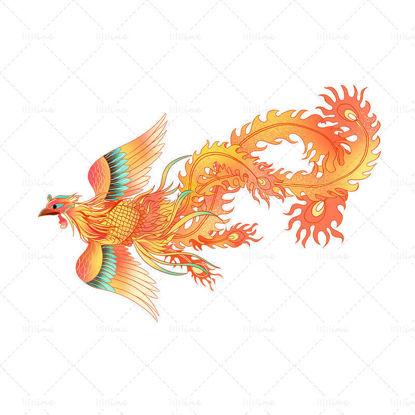 Ръчно рисувани антични животински елементи Феникс в китайски стил
