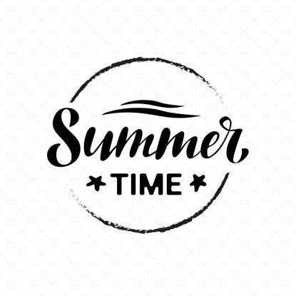 Verano, escritura digital, letras, letras negras, estrellas de mar y olas en el círculo, fondo blanco. Ilustraciones vectoriales, diseño moderno. Ilustración de verano, pancarta, póster, postal.