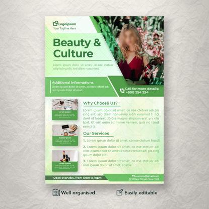 Folleto temático verde relacionado con la belleza