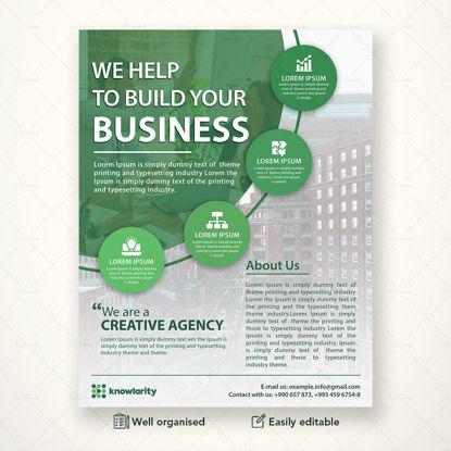 Зелен шаблон за бизнес флаер PSD