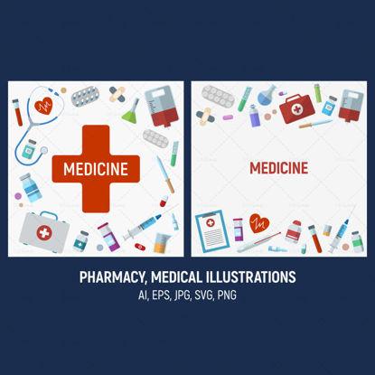 Pharmacie, illustrations vectorielles médicales