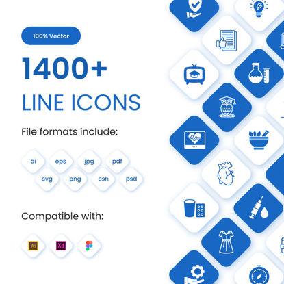 1400+ Collection de jeu d'icônes de ligne