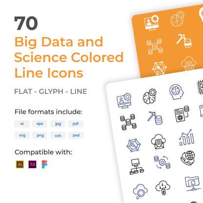 70 icônes de contour coloré Big Data et science
