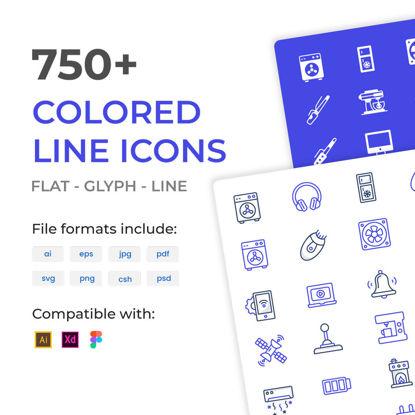 Plus de 750 icônes vectorielles de lignes colorées